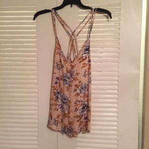 American Eagle floral button front tank top